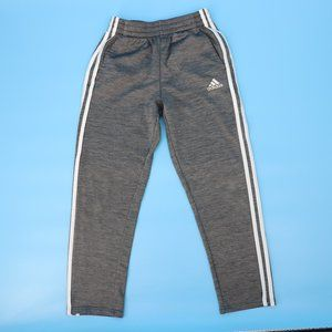 Adidas Boy's Med Gray Three-Stripe Track Pants